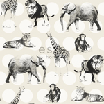 ESTA Everybody Bonjour Tapetti animals with dots valkoinen & hopea 53 cm x 10,05 m Non-woven