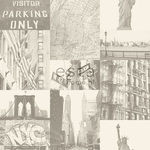 ESTA Denim & Co. Tapetti street view of New York beige 53 cm x 10,05 m Non-woven