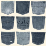 ESTA Denim & Co. Tapetti jeans pockets pocket vaaleansininen 53 cm x 10,05 m Non-woven