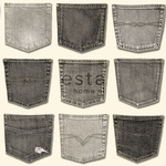 ESTA Denim & Co. Tapetti jeans pockets pocket harmaa 53 cm x 10,05 m Non-woven