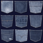 ESTA Denim & Co. Tapetti jeans pockets pocket sininen 53 cm x 10,05 m Non-woven