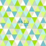 KevätHinnoin! ESTA Everybody Bonjour Tapetti triangles lime, turkoosi & beige 53 cm x 10,05 m Non-woven