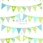ESTA Everybody Bonjour Tapetti flags line turkoosi, lime & beige 53 cm x 10,05 m Non-woven