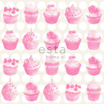 KevätHinnoin! ESTA Everybody Bonjour Tapetti cupcakes with shiny dots vaaleanpunainen 53 cm x 10,05 m Non-woven