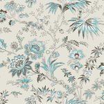 Origin Bloomingdale 326122 flowers beige/turkoosi non-woven tapetti