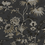 Origin Bloomingdale 326126 flowers musta/pronssi non-woven tapetti