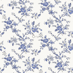 Origin Bloomingdale 326133 flowers sininen non-woven tapetti