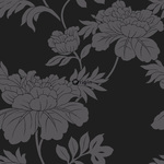 ALE! Origin Ouverture 345927 flowers musta non-woven tapetti