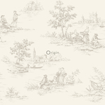 Origin Upstairs & downstairs 346831 toile de jouy harmaa non-woven tapetti